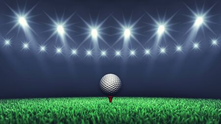 entertainment event: Golf ball on grass and spotlights , Golf tournament , Golf event Stock Photo