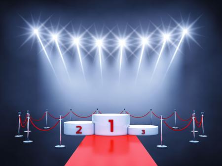 reconocimientos: Deporte de competición evento podio, alfombra roja y focos, podio del ganador, Entrega de premios