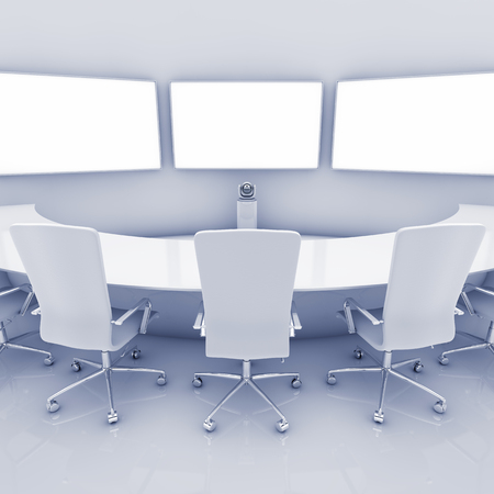 teleconferencing: Modern teleconferencing room , high resolution telepresence interior , Video conference Stock Photo
