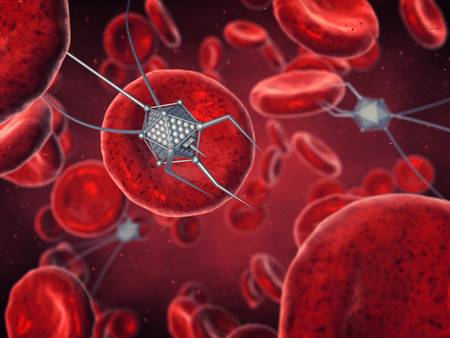 bloodstream: Nanorobots and blood cells , Nanotechnology , Nanorobotics and Bioengineering Stock Photo
