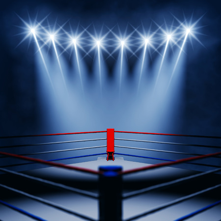 floodlights: Boxing ring corner and floodlights , Boxing event , Boxing arena