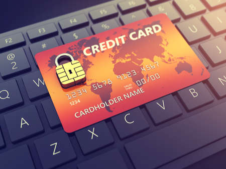 online transaction: Credit card with security chip as padlock on a computer keyboard , Safe banking and online shopping