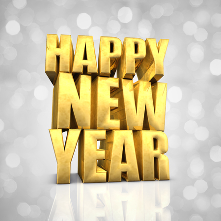 text year: Happy New Year text on white glittery background, best wishes Stock Photo