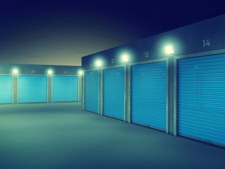 storage facility: Outdoors storage units at night , Self storage facility Stock Photo