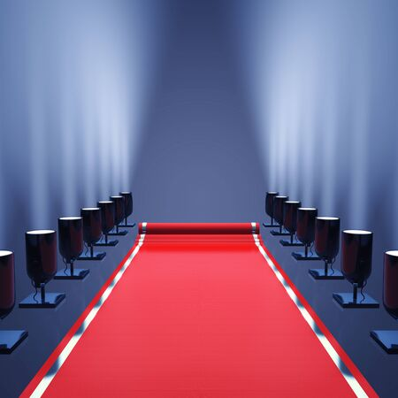 runway fashion: Red carpet with spotlights , Award ceremony and VIP event