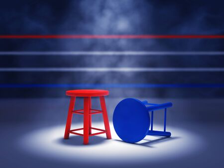 Boxing match winner and loser concept , Boxing ring , Fight nignt event Stock Photo