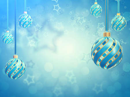 glittery: Christmas balls on blue background with copyspace , Christmas decoration baubles