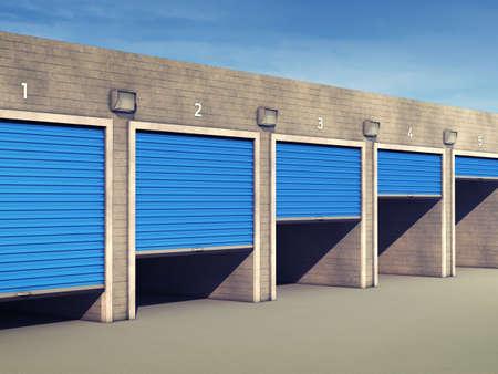 self storage: Outdoor self storage units , Storage rental facility Stock Photo