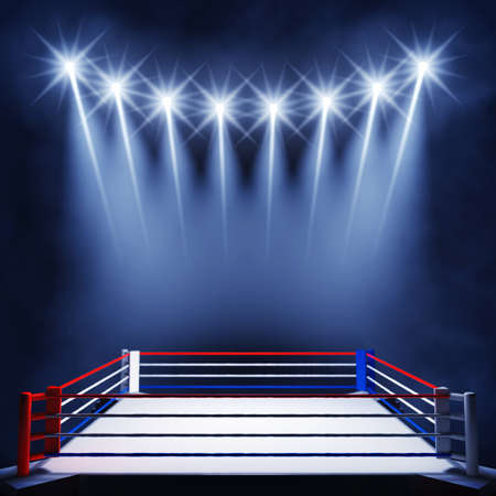 Boxing ring lit by floodlights , Fight night event , Boxing arena