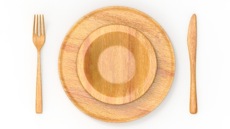 Wooden fork and knife and plate