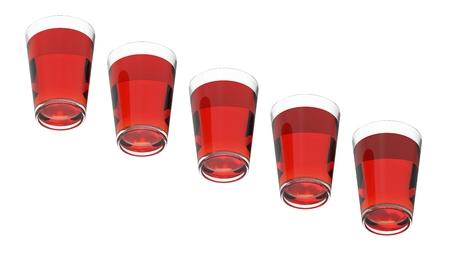 Five glasses with tea 3d rendering