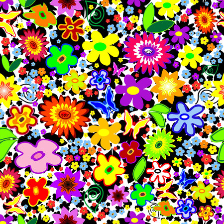 Seamless Floral Background with flowers and butterflies Vector