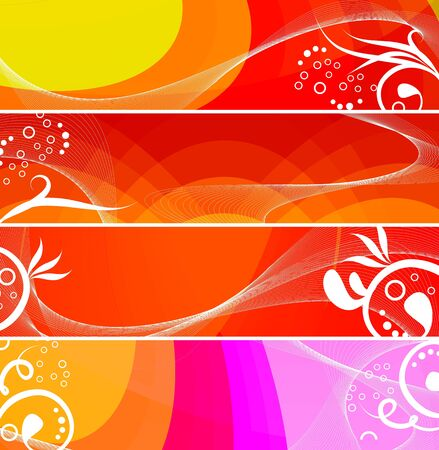 Banners set for your text, decorated with white silhouettes plant and grunge elements on an orange, red and white background. photo