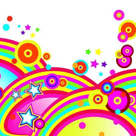 brightest: Festive abstract background delle fasce pi� brillanti, archi, cerchi e stelle su sfondo bianco