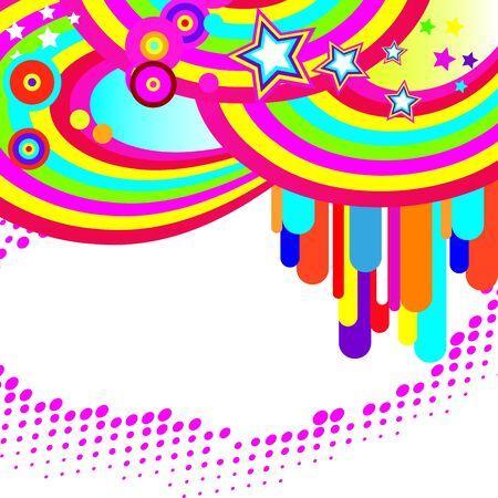 brightest: Festivo sfondo astratto delle bande pi� brillanti, archi, cerchi e stelle su uno sfondo bianco