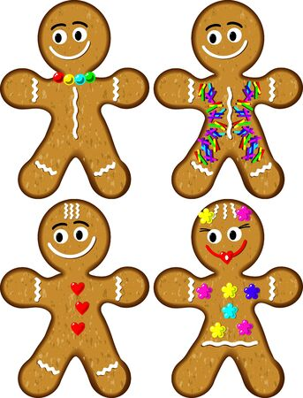gingerbread person: Gingerbread Man and Woman Stock Photo