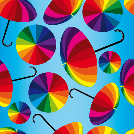 Seamless vector background with motley umbrellas Stock Vector - 4217409