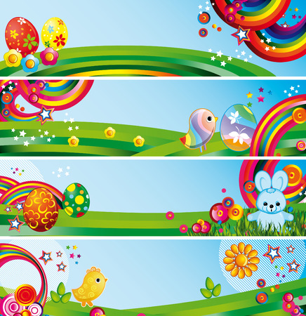 Set of easter backgrounds Vector