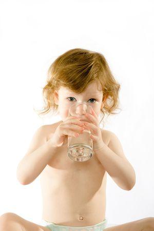 nursing baby: Cute child drinks water