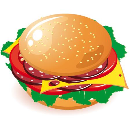 Cheeseburger / hamburger on a white background 矢量图像