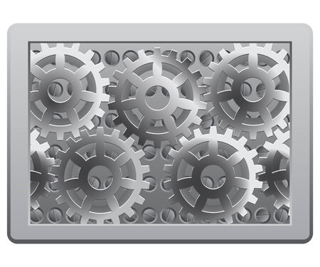 Gears in the metal frame Vector