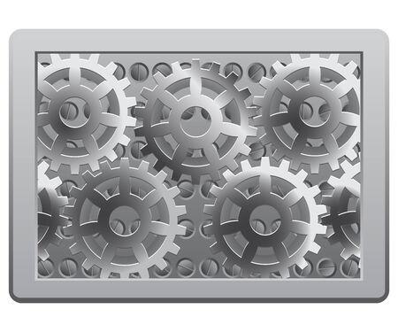 Gears in the metal frame Vector