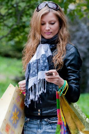Woman after shopping photo