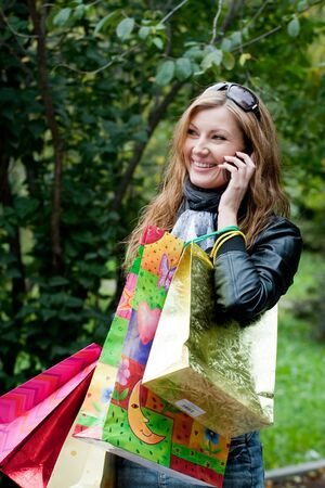 Woman after shopping Stock Photo - 5614601