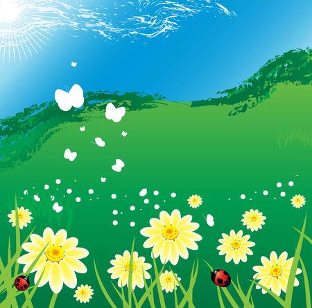 安らぎ: 夏の平静  イラスト・ベクター素材