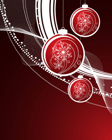 postcard template: Christmas background with filigree balls