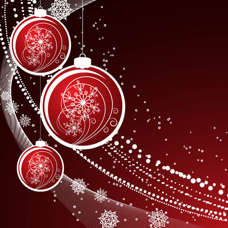 Christmas background with filigree balls