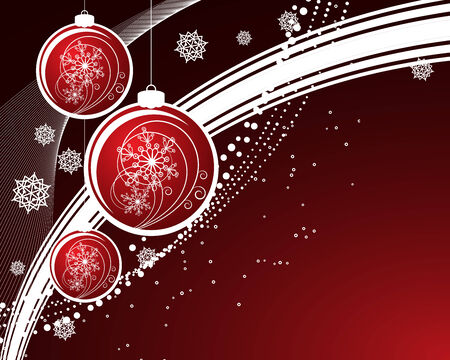 Christmas background with filigree balls Vector