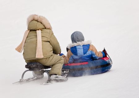to steer a sledge: Winter fun Stock Photo