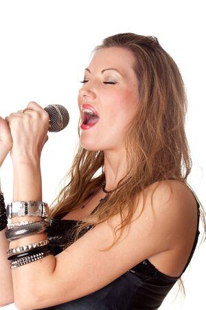 Beautiful singer. Isolated on a white background photo