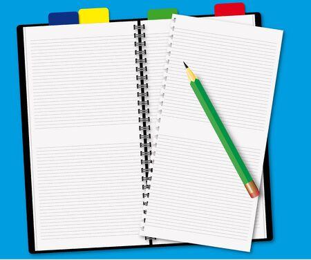Libro abierto con un l�piz sobre fondo azul  Foto de archivo - 6548481