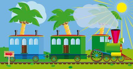 tren caricatura: Divertido tren para su proyecto de diseño. Un viaje a un resort del mar del sur