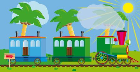 Funny train for your design project. A journey to a south sea resort photo