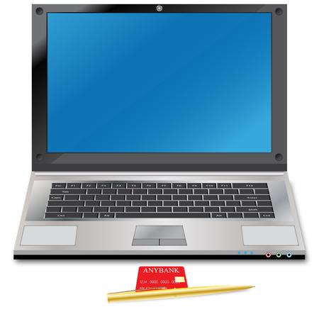 personal banking: Notebook e carta di credito  Vettoriali
