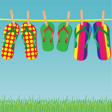 Slippers on a rope - an illustration for your design project. Stock Vector - 6976018