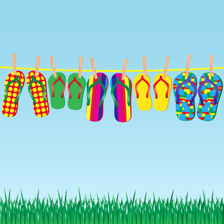 big foot: Colorful flip-flops on a rope