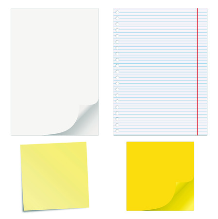 Blank papers with curled corners and notepad lined page.  Vector