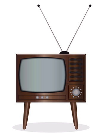 old technology: Old TV set - an illustration for your design project.