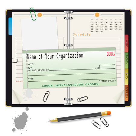 appointment book: Open organizer with pencil and bank check - an illustration for your design project. Illustration