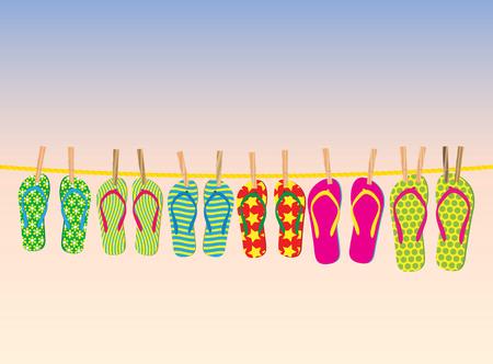 flip flop: Flip-flops on a rope with the evening sky behind. Illustration