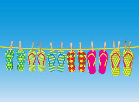 Flip-flops on a rope - an illustration for your design project. Stock Vector - 7091065