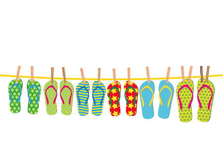 Flip-flops on a rope - an illustration for your design project. Stock Vector - 7091064