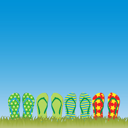 flipping: Flip-flops in the grass Illustration