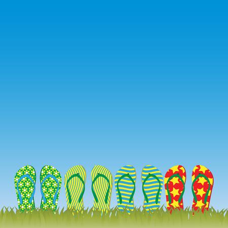 flip flop: Flip-flops in the grass Illustration