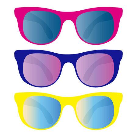 fashion bril: collectie van zonnebril geïsoleerd op wit