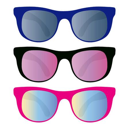 sun glass: colecci�n de gafas de sol aislados en blanco